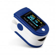 Пульсоксиметр на палец (3 показателя) с цветным OLED дисплеем, батарейки в комплекте, Сертифицирован.