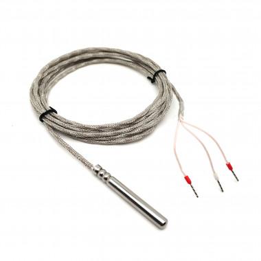 Датчик температуры Pt100 диаметр 6 длина 50 мм кабель 2 метра МГТФЭ 3 х 0,2